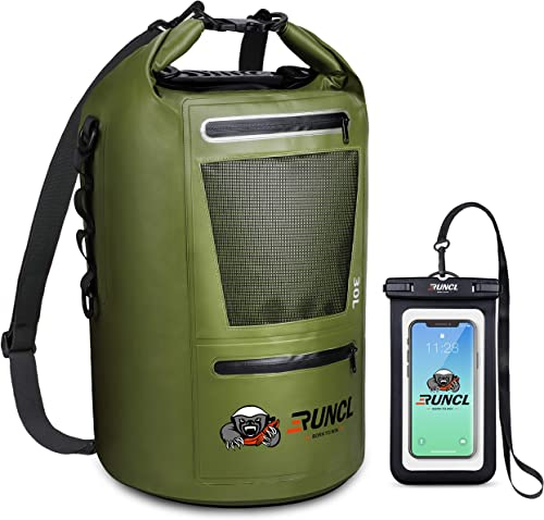 RUNCL Waterproof Dry Bag ANCOHUMA, Dry Compression Sack 10/20/30/40L, Dry Backpack with Waterproof Phone Case - Reinf...
