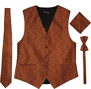 Spencer J's Men's Formal Tuxedo Suit Vest Paisley Tie Bowtie and Pocket Square 4 Peace Set Verity of Colors