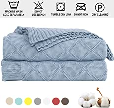 Cable Knit Throw Blanket 100% Cotton - Solid Knitted Throw Blanket Super Soft Handmade Warm Knit Crochet Sweater Texture, for Car Couch Sofa Bed Home Decoration, (51 x 70 Inch /31oz / Beige)