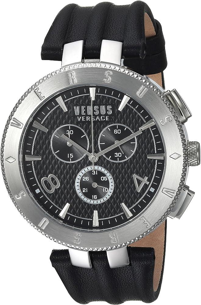 Versace orologio cronografo analogico uomo  con cinturino in pelle cassa in acciaio inox S76080017