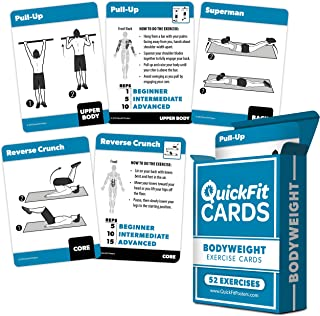 """QuickFit Bodyweight Exercise Cards - Fitness Playing Cards with Over 50 Body Weight Workouts - 2.5"""" x 3.5"""" (Standard Playi..."""