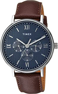 Timex Men's TW2T35100 Southview 41 Multifunction Brown/Silver/Blue Leather Strap Watch
