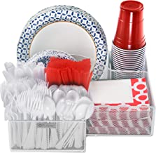 Eltow White Plate and Cutlery Organizer: Large Kitchen Spoon, Fork, Knives and Cups Holder - Sturdy Bowl, Napkin and Tableware Dispenser - Home, Restaurant, BBQ and Picnic Plate Organizer Caddy