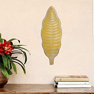 Art Street Yellow & Silver Color Leaf Shape MDF Decorative Wall Plate,Wall Decor Plates for Home & Office Decoration-Size-...