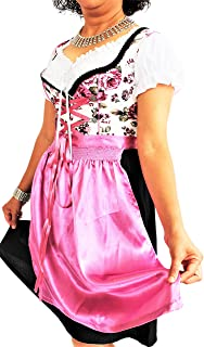 Bavarian Clothes ABVERKAUF Dirndl Damen Trachtenkleid Kleid 3 TLG mit Dirndlbluse Schürze geblümt Gr: 34-54 in rot schwarz Gold türkis blau pink violett grün grau rosa Midi Oktoberfest