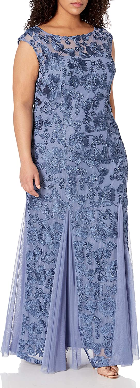 Alex Evenings Women's Plus-Size Full-Length Embroidered Dress with Illusion Neckline
