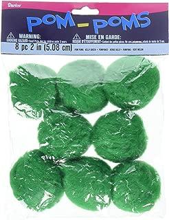 Darice 8-Piece Acrylic Pom Pom, 2-Inch, Green