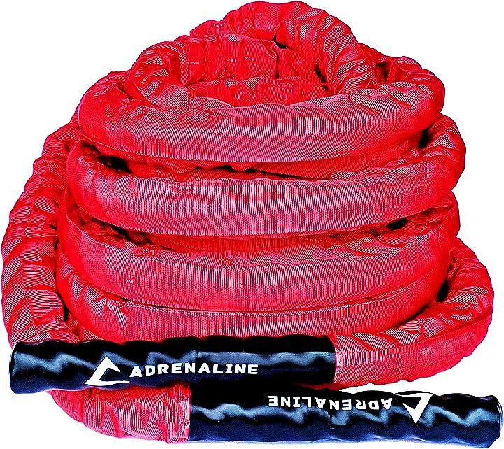 Corda palestra adrenaline | lunghezza: 12 m -diametro: Ø 3,8cm -cover in nylon- strap ancoraggio a muro rapido AD-FT-01