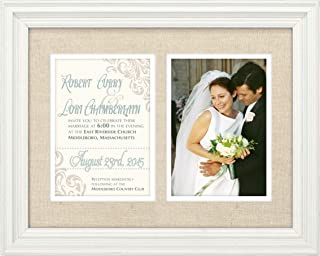 Malden International Designs Linen Invitation Washed Profile With Double Layer Linen and White Mat Picture Frame,2 Option, 2-5x7, White