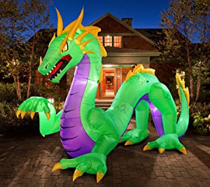 PARAYOYO 14Ft Long Halloween Inflatable Dragon Green with LED Lights Blow up Decor Holiday Carnival Party Outdoor Night Decoration