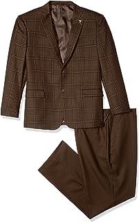 Men's 4-Piece Notch Lapel Plaid Vested Suit with 2 Pants