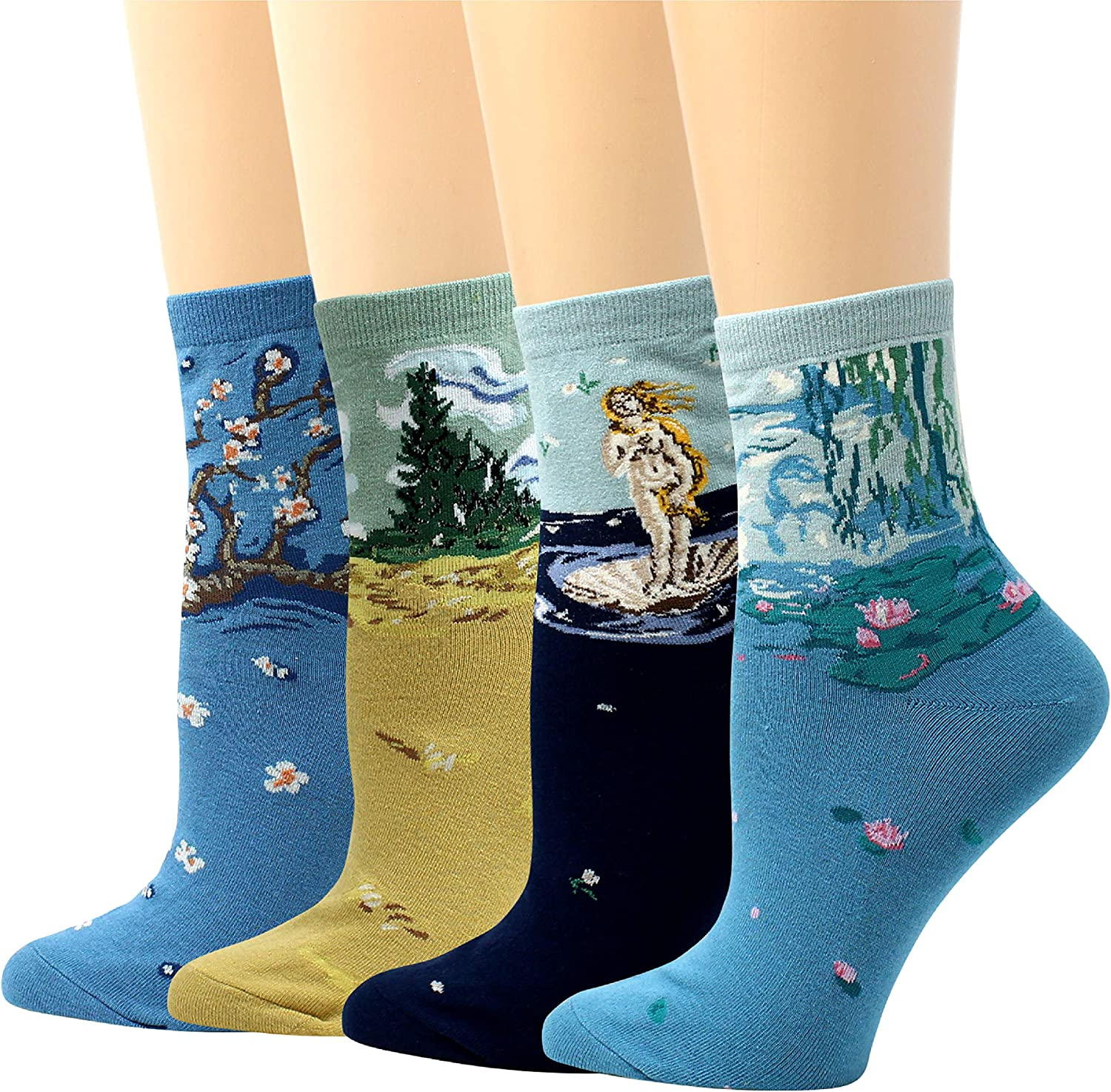 LIVEBEAR 4/8 Pairs Womens Cute Famous Paintings Art Statues Novelty Casual Cotton Crew Socks Made In Korea, Gift