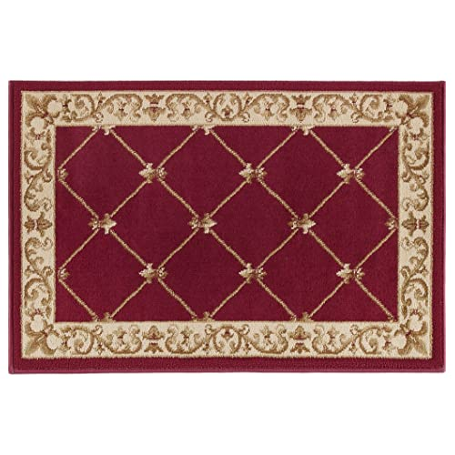 55d1067b76f Orleans Traditional Border Red Scatter Mat Rug
