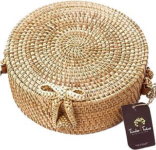 Round Rattan Crossbody Bag | Handwoven Straw | Beach Summer Shoulder Bag | Women | Adjustable Leather Strap | Timber Twine
