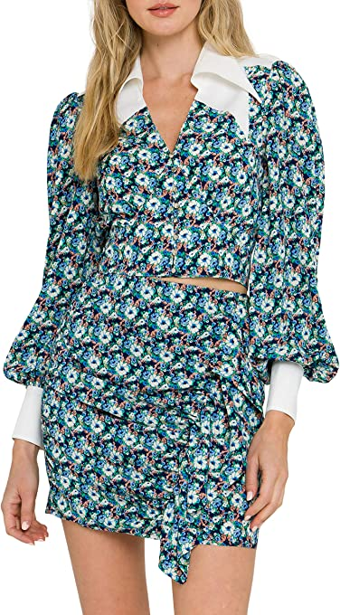Floral Collar Detail Shirt
