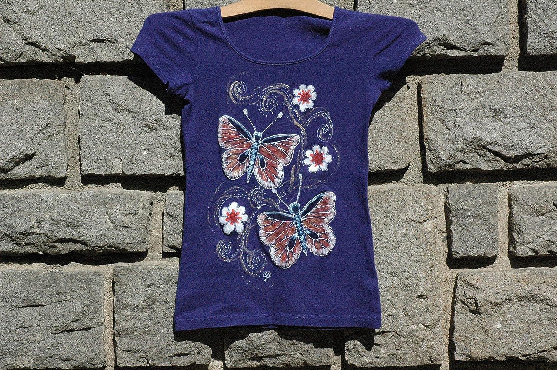 trend rank Purple Butterflies Handpainted T-shirt Kids Butterfli Popular standard Little for