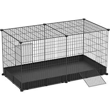 SONGMICS Guinea Pig Run Cage, Large Indoor Playpen and Enclosure with Oxford Mat and 2 Doors, Metal Grid Crate for Hamster, Rabbit, and Small Animals, 48.4 x 24.8 x 24 Inches, Black ULPI05H