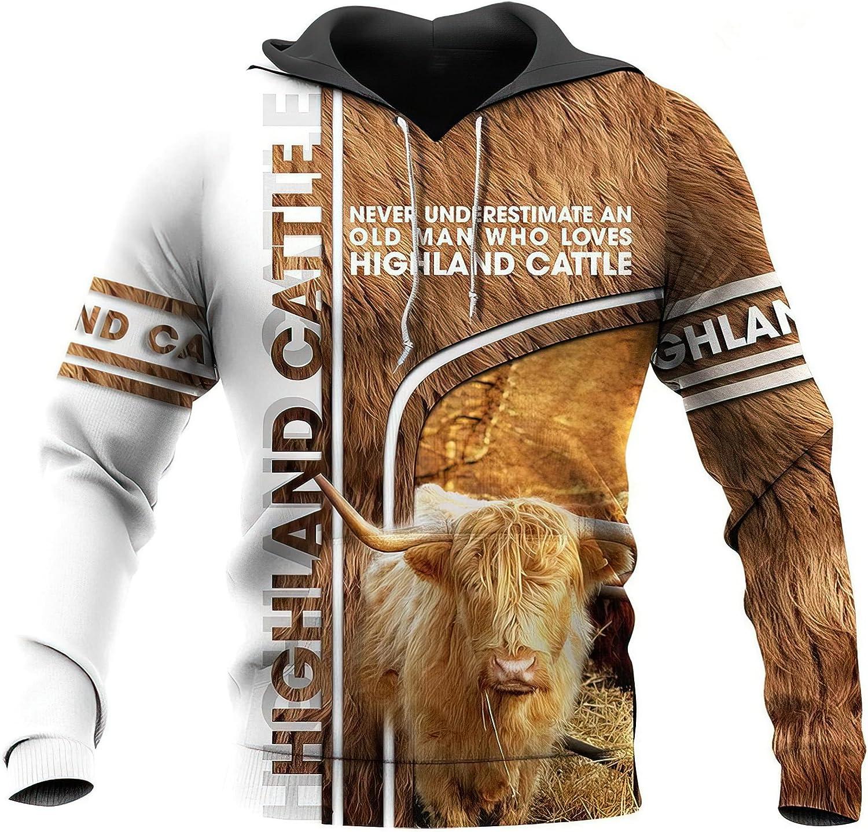 Catboroz All items free shipping Fashion Regular dealer Zipper Highland Cow Women Hoodie Men Sweatshirt