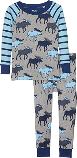 Hatley Kids - Blue Moose Long Sleeve Pajama Set (Toddler/Little Kids/Big Kids)