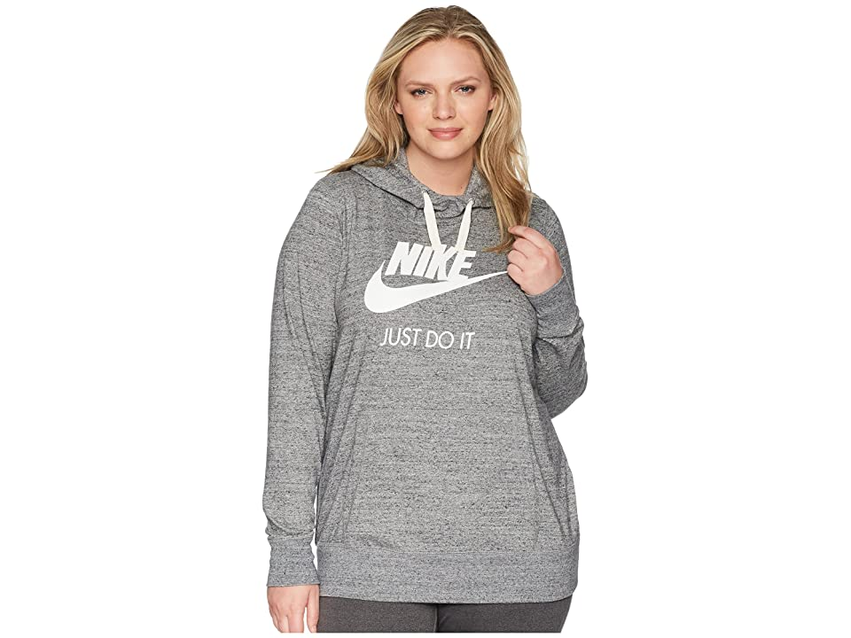 Nike NSW Gym Vintage Pullover Hoodie (Size 1X-3X) (Carbon Heather/Sail) Women