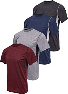 Reset 4 Pack Workout Shirts for Men, Active Athletic Performance Crew Neck Gym T Shirts