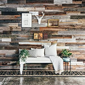 Weekend Walls - Reclaimed Weathered Redwood - DIY Easy Peel and Stick Wood Wall Paneling (10 Sq Ft, Natural)