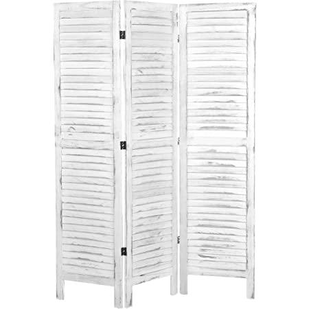 MyGift Rustic Natural Beige Wood Folding Privacy Screen Louvered 3-Panel Hinged Room Divider