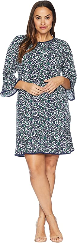 Plus Size Woodblock Vine Flounce Dress