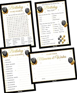 Birthday Party Games - Set of 4 Activities - (50 Cards Each, 200 Total) - Birthday Party Supplies for Adults