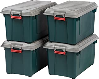 IRIS USA, Inc. SIA-760D Store-It-All WEATHERTIGHT Totes, 82 Quart, Green/Gray/Red