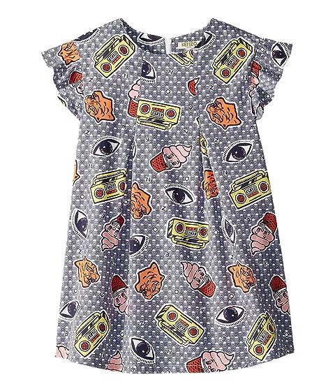Kenzo Kids Printed Ruffle Short Sleeve Dress (Little Kids)
