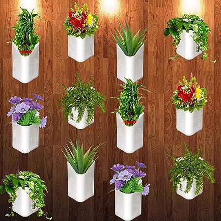 """Techhark Plastic Flower Pot - White, 4 X 6.5 X 5.5 X 5"""", Pack Of 12"""