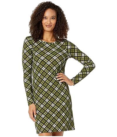 MICHAEL Michael Kors Bias Plaid Long Sleeve Dress (Evergreen) Women