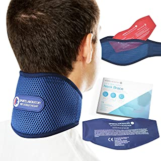Sports Laboratory Neck Support Brace PRO+ for Neck Pain with Integrated Hot & Cold Therapy Pack | Adjustable Cervical Collar | Free Neck Pain Guide (Regular (11-17 inch))
