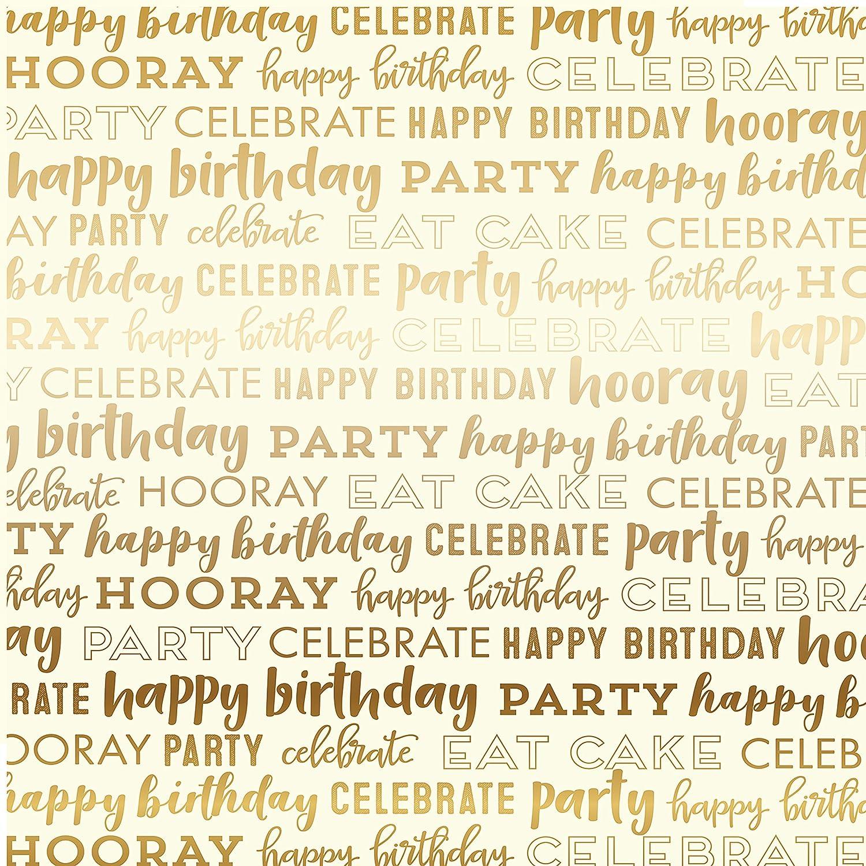 Echo Park Carta Bella Happy Birthday Foil Double-Sided Cardstock 12 -Cream W Gold B07BXRBT2R | Modernes Design
