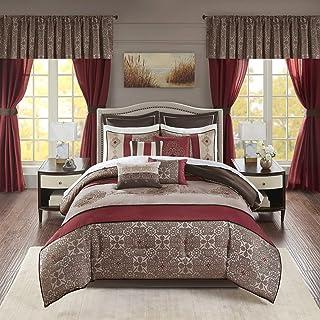 Madison Park Essentials 24-Piece Room in A Bag Comforter Set-Satin Jacquard All Season Luxury Bedding, Sheets, Decorative ...