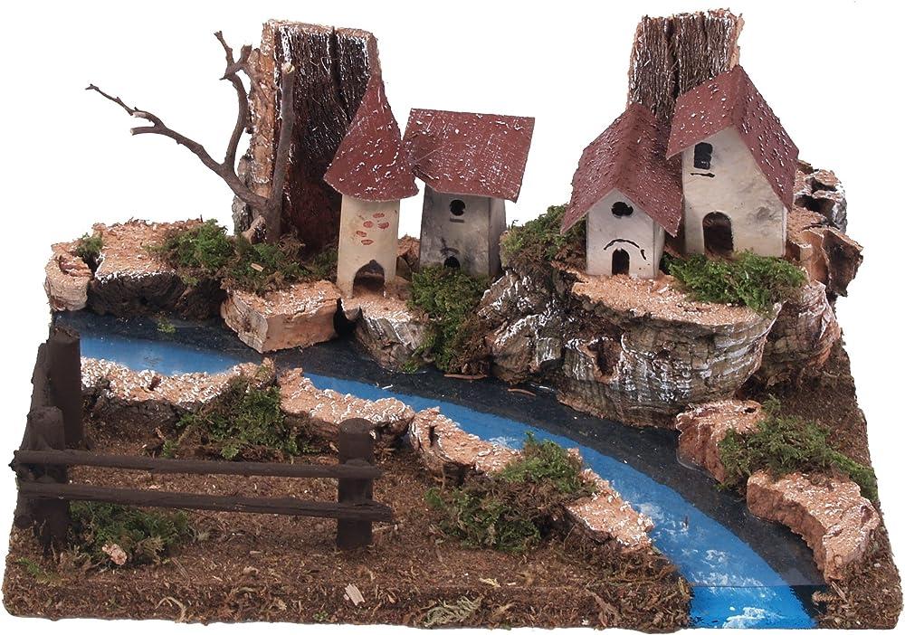Ferrari & arrighetti ,case con fiume che scorre in mezzo.paesaggio del presepe. 511