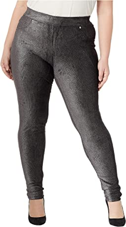 Plus Size Foil Cord Pull-On Leggings