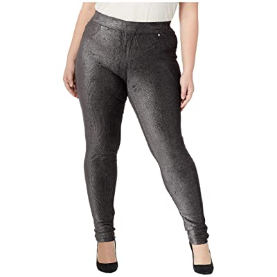 MICHAEL Michael Kors Plus Size Foil Cord Pull-On Leggings (Black/Silver) Women