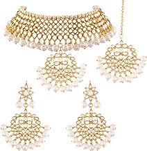 I Jewels Traditional Kundan & Pearl Choker Necklace Set for Women (K7058)