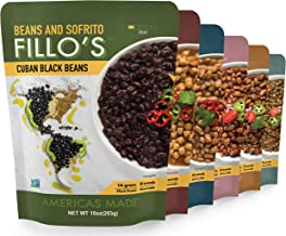 FILLO'S Variety Pack, Sofrito Beans, 6 Count, Cuban Black Beans, Tex Mex Pinto, Puerto Rican Pink Beans, Mexican Mayocoba Beans, Peruvian Lentils, Panamanian Garbanzos, Non-GMO, Vegan, Plant Protein