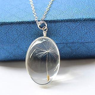 Collana con pendente a forma di seme di dente di leone naturale Collana con catena in argento 925