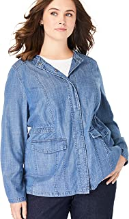 Women's Plus Size Collarless Denim Utility Jacket
