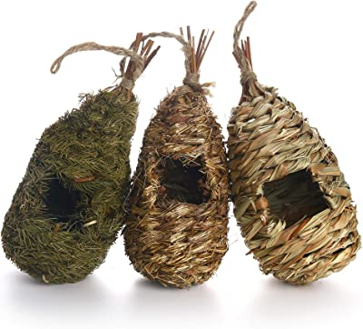 MuchL Hummingbird House Set of 3 Hand Woven Hummingbird Houses for Outside Hanging Natural Grass Bird Houses for for Garden Window Outdoor Home Decoration, Cozy Resting Place for Birds