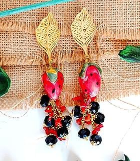 Orecchini con Fragole in ceramica di Caltagirone e Corallo rosso