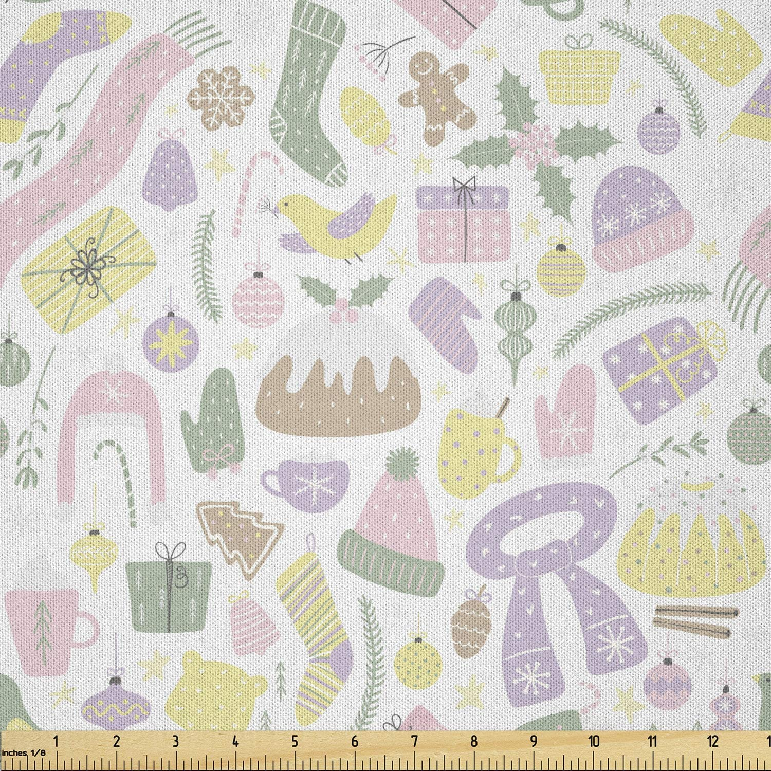 Ambesonne Ranking integrated 1st place Pastel Fabric Fixed price for sale by The of E Yard Illustration Christmas