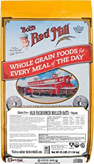 Bob's Red Mill Gluten Free Organic Old Fashioned Rolled Oats, 25 Pound (Pack of 1)
