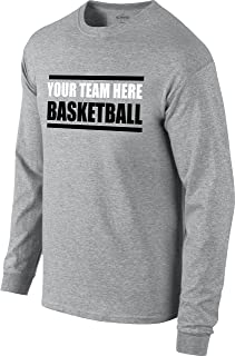 Custom Basketball Warm-Up Long Sleeve T-Shirt (Unisex, Youth/Adult) - Add Your Team Name