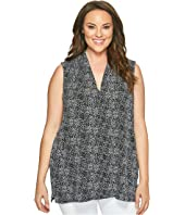 Vince Camuto Specialty Size - Plus Size Sleeveless Delicate Pebbles V-Neck Top with Chiffon Seam