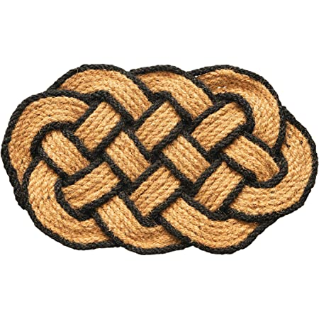 Creative Co-Op Celtic Knot w/Black Trim Woven Coir Doormat, Natural